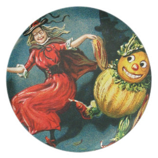 Dancing Halloween Witch Dinner Plate