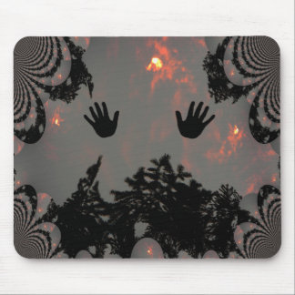 Dancing hands in the fiery sky.... mouse pad