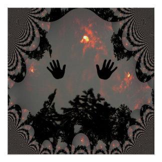 Dancing hands in the fiery sky.... poster