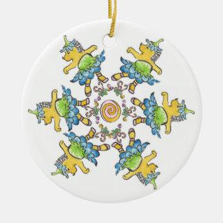 Dancing Hedgehogs Ceramic Ornament