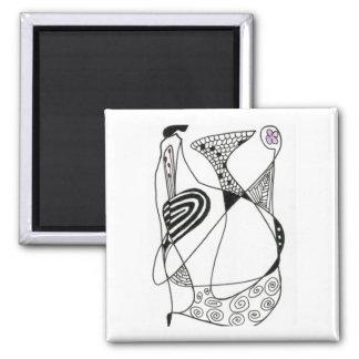 """Dancing Hen"" Abstract Art Magnet"