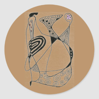 """Dancing Hen on Buff"" Abstract Design Sticker"