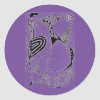 """Dancing Hen on Purple"" Abstract Design Sticker"