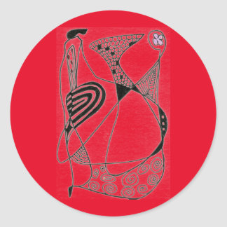 """Dancing Hen on Red"" Abstract Design Sticker"