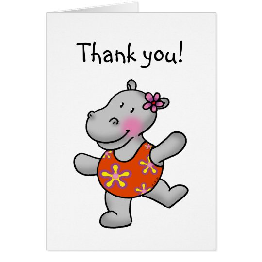 Dancing hippo thank you card