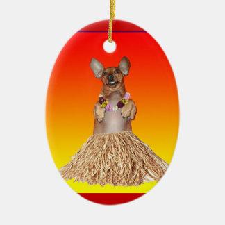 Dancing Hula Dachshund Ornament