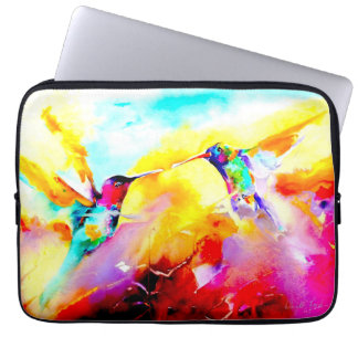 """Dancing in Colour"" Hummingbird Print Laptop Computer Sleeves"
