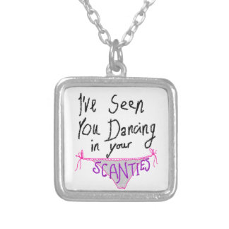 Dancing in Scanties cute & funny handwritten logo Silver Plated Necklace