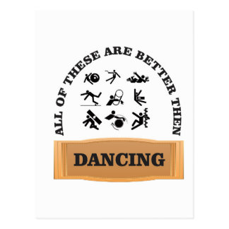 dancing is bad postcard