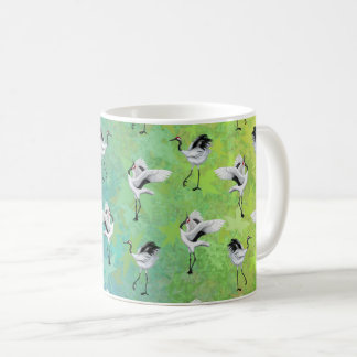 Dancing Japanese Cranes Ceramic Mug