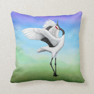 Dancing Japanese Cranes Throw Pillow