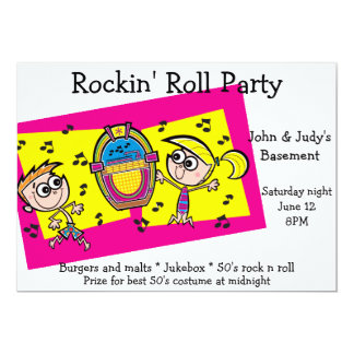 Dancing Jukebox Rock n Roll Party 13 Cm X 18 Cm Invitation Card