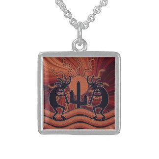 Dancing Kokopelli Desert Sunset Southwest Cactus Personalized Necklace