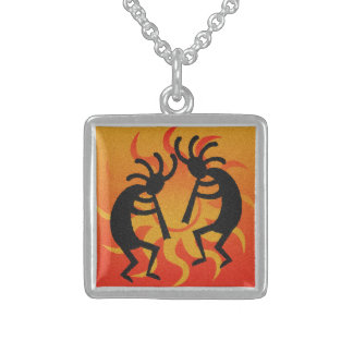 Dancing Kokopelli Sunset Southwest Tribal Sun Sterling Silver Necklace