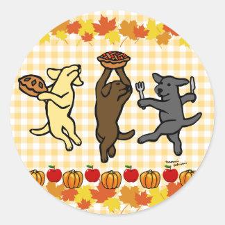 Dancing Labrador Trio Thanksgiving Classic Round Sticker