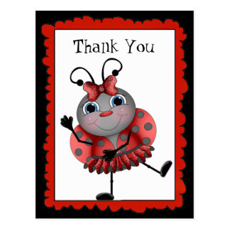 Dancing Ladybug thank you postcard