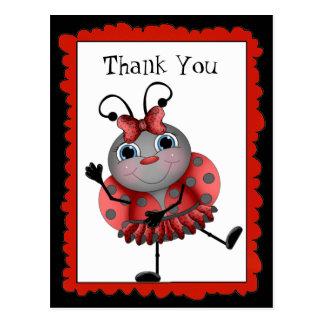 Dancing Ladybug thank you postcard