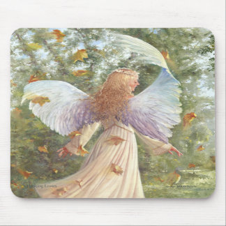 Dancing leaves Mouse pad with angel image