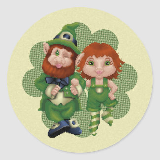 Dancing Leprecauns Pixel Art St. Patrick's Day Round Sticker