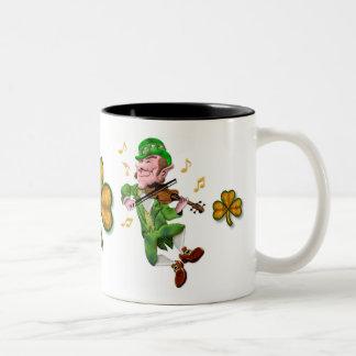 Dancing Leprechauun Two-Tone Coffee Mug