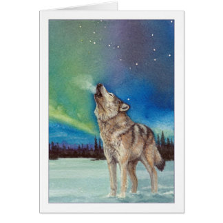Dancing Lights howling wolf greeting card