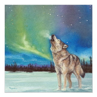 Dancing Lights howling wolf square card 13 Cm X 13 Cm Square Invitation Card