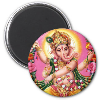 Dancing Lord Ganesha 6 Cm Round Magnet