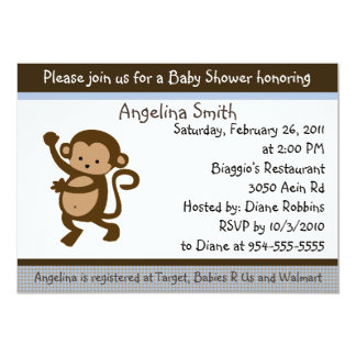 "Dancing Monkey Baby Shower Invitation 5"" X 7"" Invitation Card"