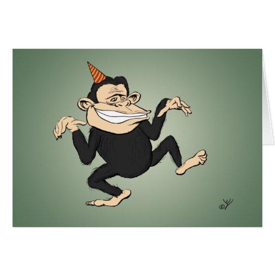 Dancing Monkey Birthday Card