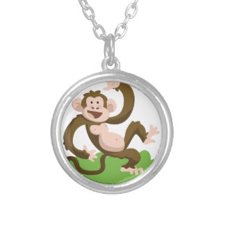 dancing monkey silver plated necklace