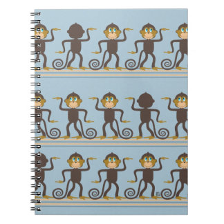Dancing monkeys pattern, boys, blue notebook