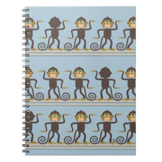 Dancing monkeys pattern, boys, blue spiral note books