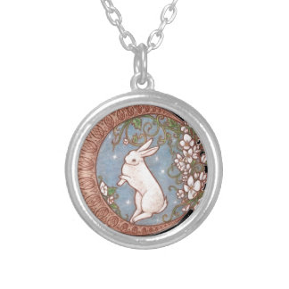 DANCING MOON RABBIT SILVER PLATED NECKLACE