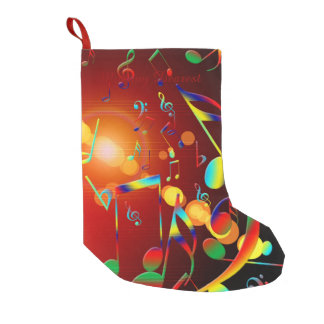 Dancing Musical Notes Small Christmas Stocking
