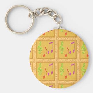 Dancing Musical Symbols Basic Round Button Key Ring