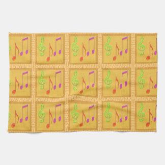 Dancing Musical Symbols Hand Towels