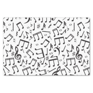 Dancing Notes in Black & White Tissue Paper