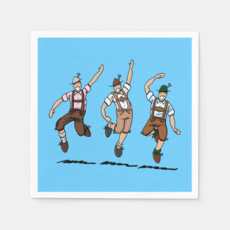 Dancing Oktoberfest Lederhosen Men Paper Napkin