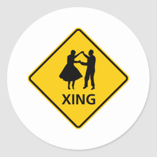 Dancing or Dancers Crossing Highway Sign Round Sticker