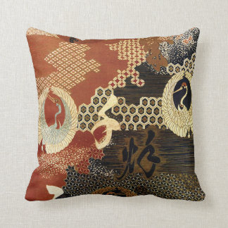 Dancing Oriental Cranes Cushion