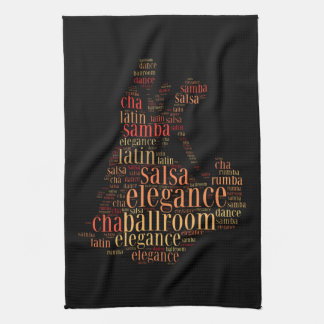 Dancing pair as words cloud design tea towel