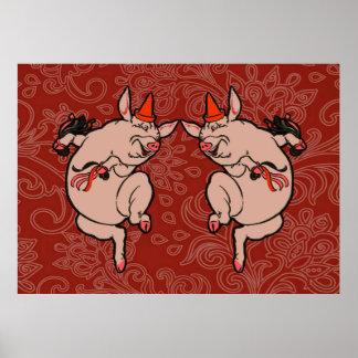 Dancing Pig Vintage Cute Dancer Print