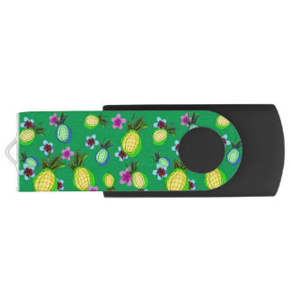 Dancing pineapples and frangipanis USB flash drive