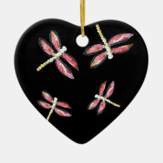 Dancing Pink Dragonfly illustration Ceramic Heart Decoration