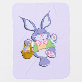 Dancing Purple Easter Bunny Basket of Colored Eggs Baby Blanket