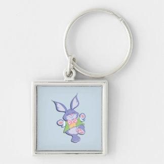 Dancing Purple Easter Bunny Blue Key Ring