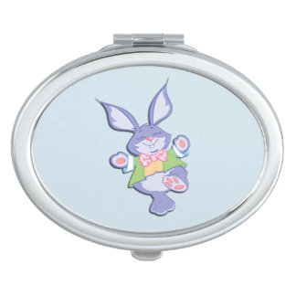 Dancing Purple Easter Bunny Blue Travel Mirrors
