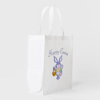 Dancing Purple Easter Bunny White Reusable Grocery Bag