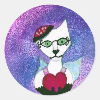 Dancing queen hearts watercolors round sticker