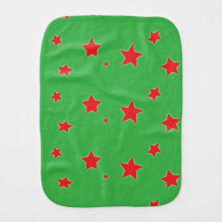 Dancing Red Stars on Green Baby Burp Cloths